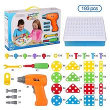 Kids Toys Drill Pretend Play Creative Educational Games Mosaic Design Building Toys Tool Set for Boy 3 Years Up Toy Dropshipping 3d construction sets for kids toy drill play creative educational games mosaic design building toys tool set for boy 3 years toy