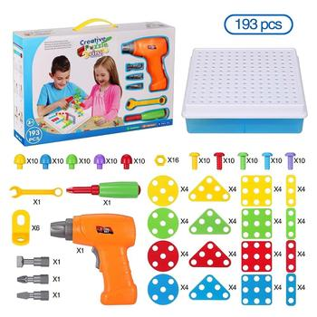 Kids Toys Drill Pretend Play Creative Educational Games Mosaic Design Building Toys Tool Set for Boy 3 Years Up Toy Dropshipping 54pcs diy flower building block toy garden building toys educational creative playset pretend toy for kids