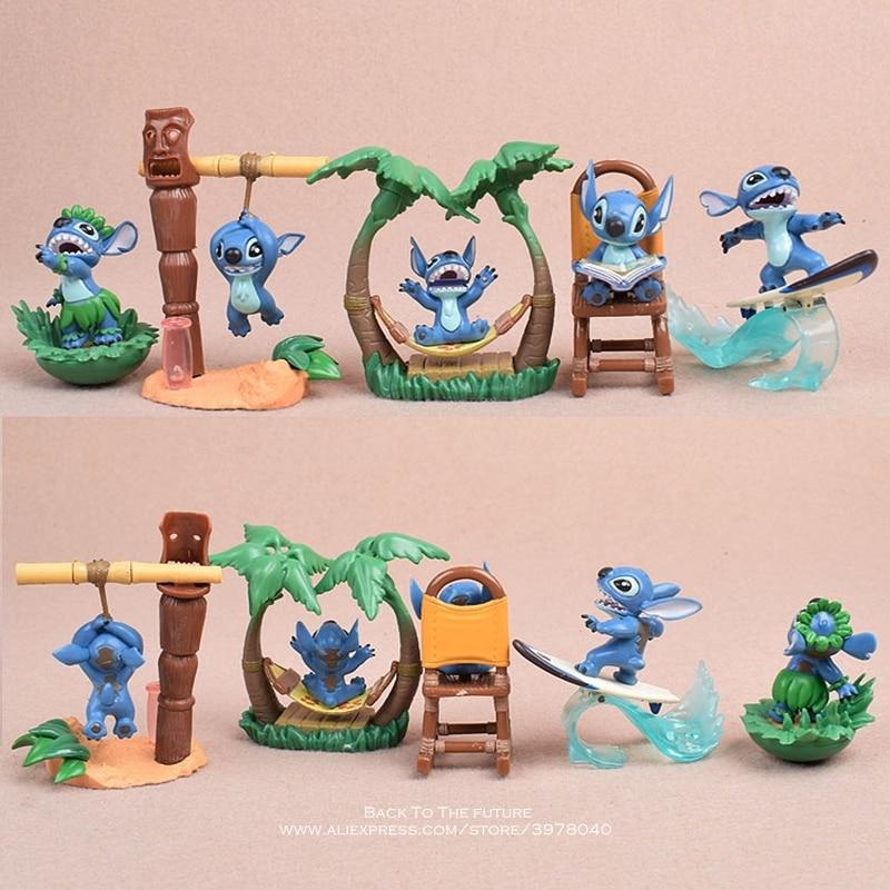 Image 2 - Disney Lilo & Stitch 5pcs/set 5 7cm Action Figure Anime Decoration Collection Figurine mini doll Toy model for children giftAction & Toy Figures   -