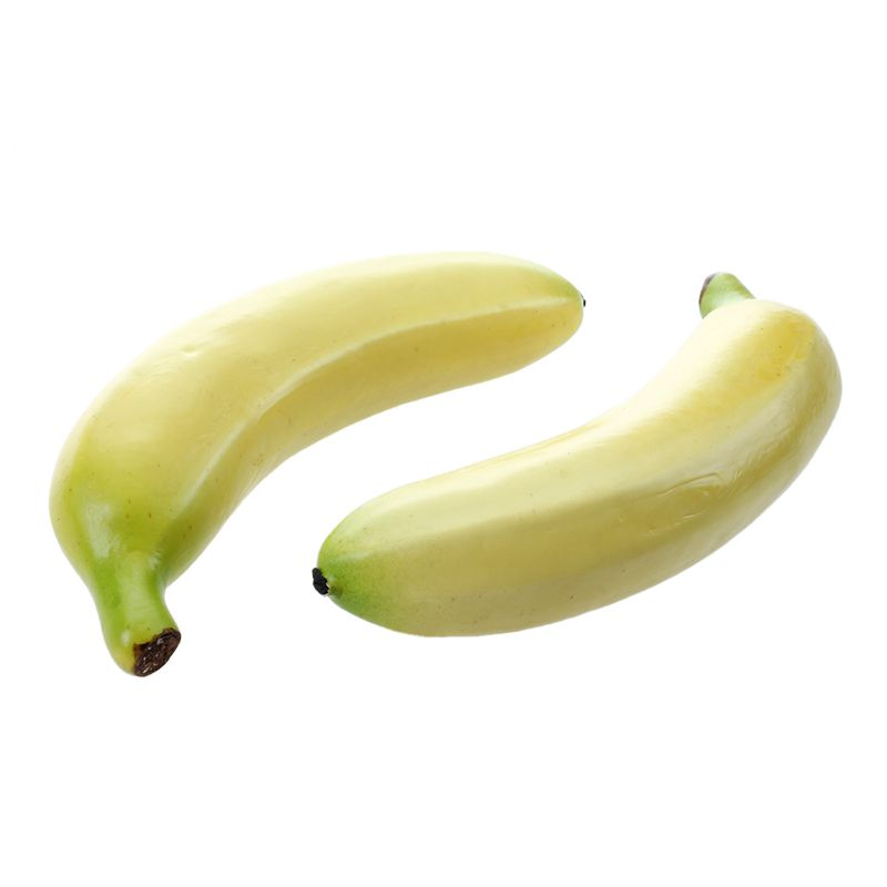 2 Pcs Soft PU Material Artificial Lifelike Artificial Bananas Decorative Fake  Fruit Decoration