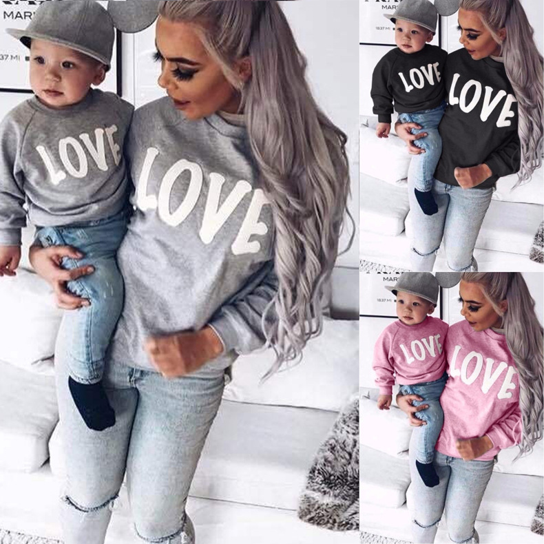 CYSINCOS 2020 New Desgin Family Christmas Pajamas Mommy And Me Clothes LOVE Sweatshirt Clothes Family Matching Sweaters Outfits