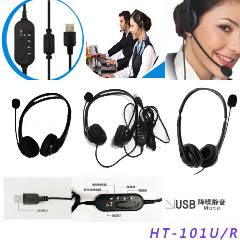 Telephone Headset Call Center Operator USB Corded Offical Headphone With Micro For Computer Laptop PC