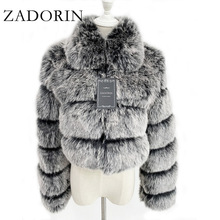 Winter Coat Jacket Fur-Top Cropped Faux-Fox-Fur Fluffy Fur ZADORIN Plus-Size Women Fashion