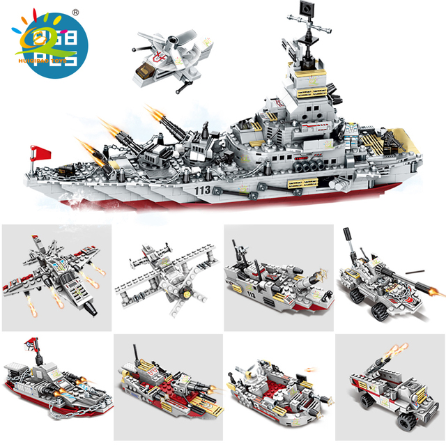 HUIQIBAO 958pcs 8in1 Army Marine Warship Cruiser Building Blocks Military Ship Aircraft Bricks city Construction children Toys