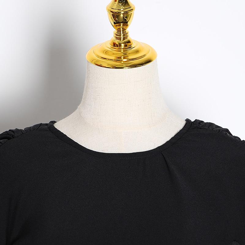 Image 5 - TWOTWINSTYLE, vestidos de mujer de retales con volantes, cuello  redondo, manga larga, cintura alta, vestido fruncido, moda femenina  2019, ropa TideVestidos   -