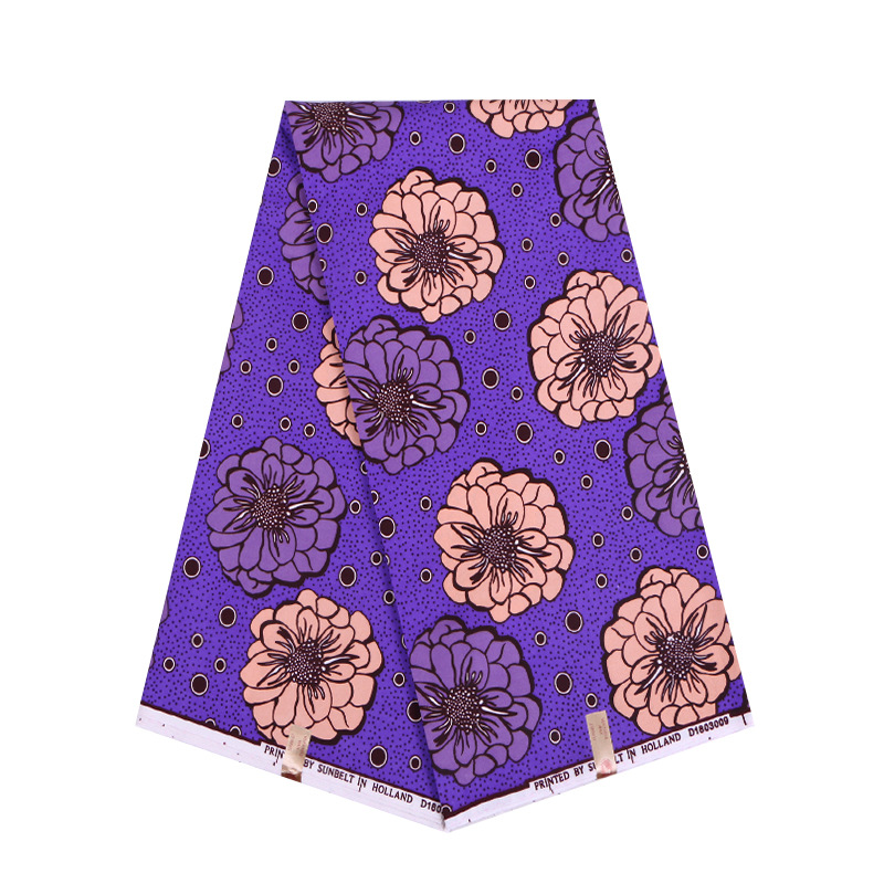 Nigeria Wax High Quality Veritable Wax Purple & Pink Flowers Print Fabric Hot Sale New African Ankara Fabrics Sewing Material