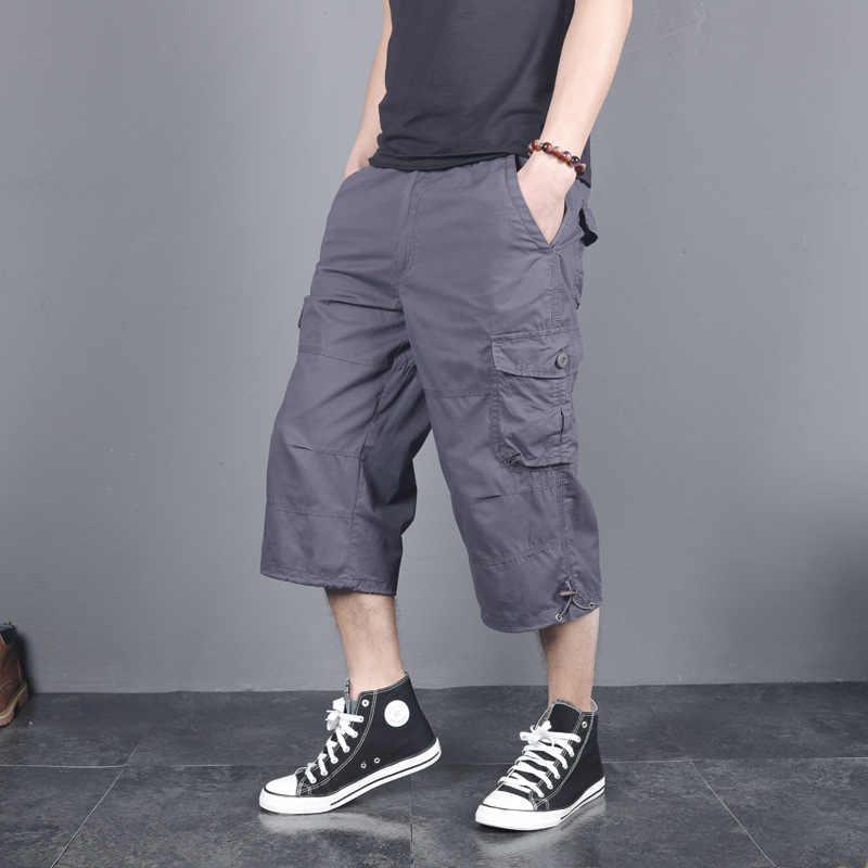 Cinghia libera di Nuovo di Estate di Modo Cargo shorts Uomo In Cotone casual Boardshort Allentato Rigonfio Beach Pantaloni di Scarsità 3/4 di Lunghezza Più Il Formato 5XL
