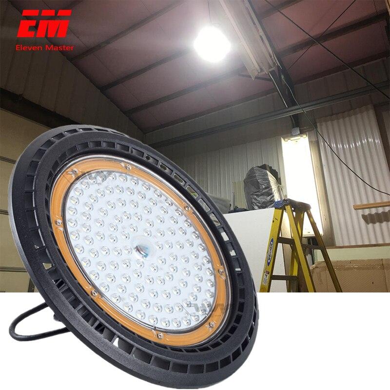 Super brilhante 50 w 200 w ufo conduziu a iluminação industrial alta da lâmpada de garagem da luz da baía ac 220 v ip65 impermeável para armazéns zdd0019