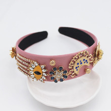 Vintage Crystal Pearl Baroque Headband Gold Hair Accessories Metal Flower for Headbands Women Fascinators Weddings Hairband