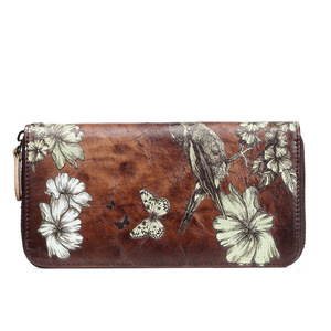 Image 5 - 本革の女性の財布ロングクラッチ花レディース財布と財布女性rfidカードホルダーコイン財布女の子