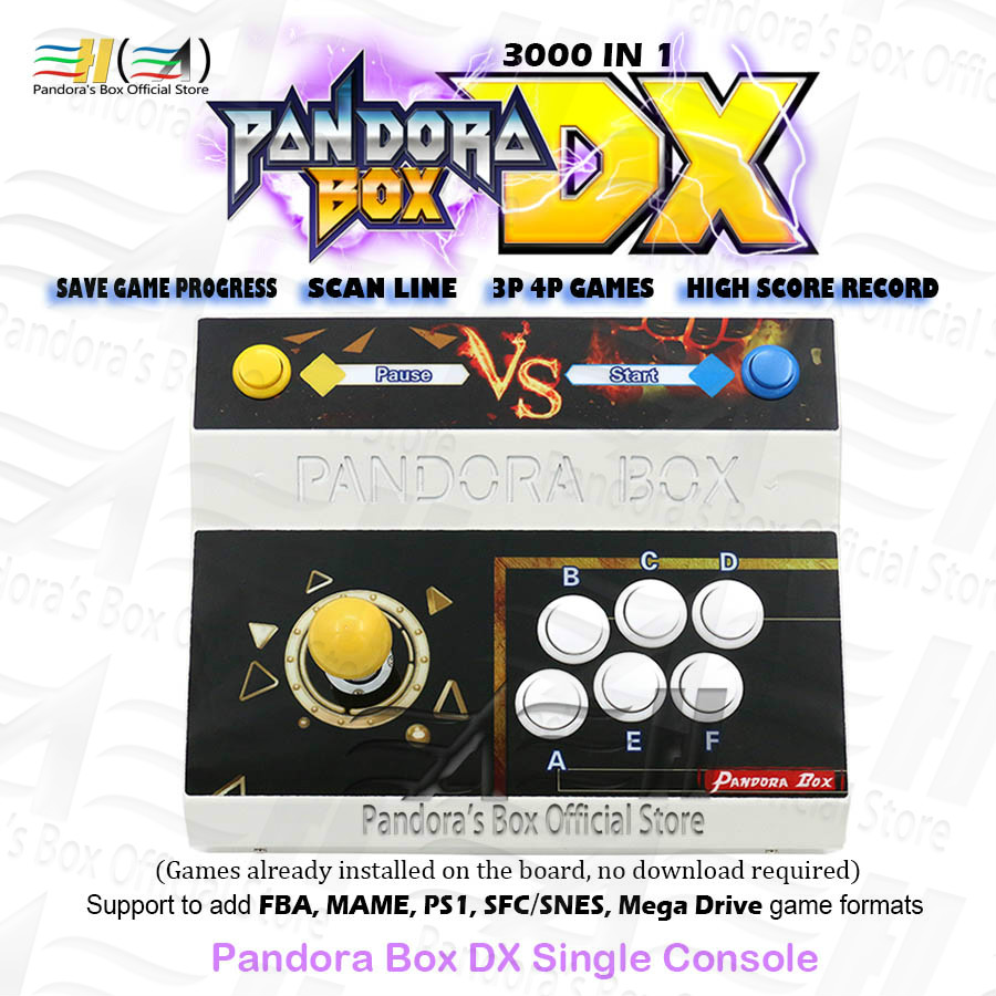 2020 Pandora Box DX 3000 In 1 Single Iron Console Can Save Game Progress High Score Record Can Add FBA MAME PS1 SFC/SNES MD Game