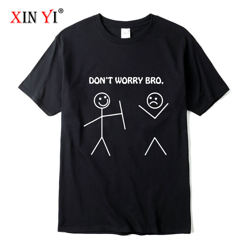 Футболка XINYI мужская с забавным дизайном, 100% хлопок, повседневная трикотажная рубашка с принтом, Топ
