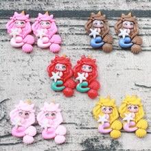 Hair-Bows-Clips Resin-Accessories Unicorn Handmade-Supplies DIY Cartoon 10pcs Crafts