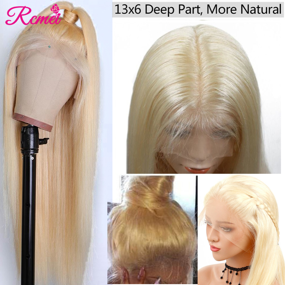 13x6 Lace Frontal Wig 613 Honey Blonde Lace Front Human Hair Wigs Brazilian Long Straight Transparent Lace Wig Pre Plucked Remy