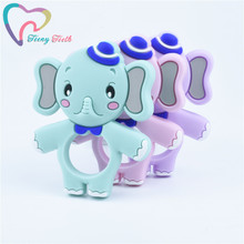 2 PCS Newest Elephant Silicone Teether BPA Free Baby Nursing Teething Pendant Ki