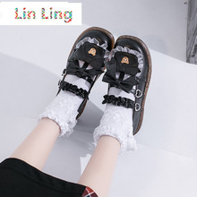 2021LinLing Cos mignon nœud en cuir verni fille Mary Janes Chaussures plate-forme Chaussures plates bout rond dames Chaussures Femmes Chaussures Lolita