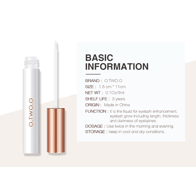 O.TWO.O Eyelash Growth Serum Moisturizing Eyelash Nourishing Essence For Eyelashes Enhancer Lengthening Thicker 3ml 3