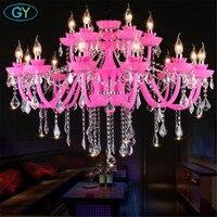 Modern candle crystal chandelier pink princess room children's bedroom lamp beauty nail shop KTV creative crystal lustre lamp