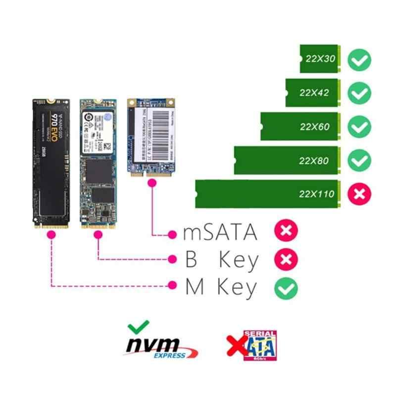 Carcasa SSD M2 USB3.1 tipo C a M2 NVMe disco duro de estado sólido 10Gbps carcasa externa M2 caja de disco duro NVME m-key SSD