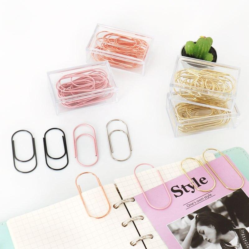 TUTU 20pcs/box 50x20mm large size binder clips decorative 8 colors wide paper clips Kawaii photo clip office clip H0276 5