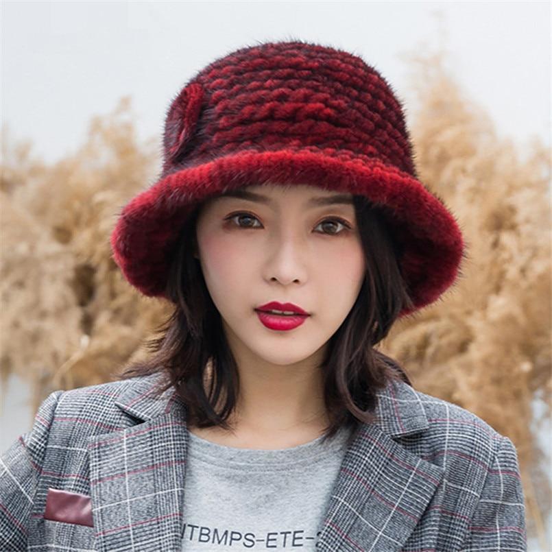 Brand New Real Mink Fur Hat for Women Winter Panama Outdoor Sunscreen Bucket Hats Female Sun Caps H19