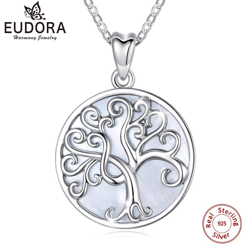 Eudora Elegant 925 Sterling Silver Tree of life Necklace Mother of Pearl Sterling Silver Jewelry with fine Jewelry box MBD03