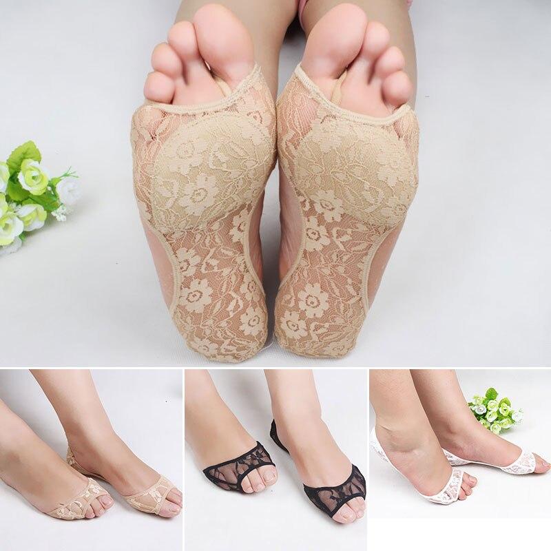 Women Socks Open Toe Invisible Non-Slip Sponge Pad Socks Lace Lady Summer Thin High Heels Socks Slippers Breathable Funny Sock