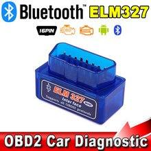 Mini ferramenta de varredura leitor de código interface bluetooth v2.1 elm327 obd2 scanner de carro diagnóstico-ferramenta obdii obd 2 para telefones android