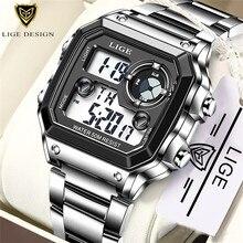 LIGE العلامة التجارية الرجال ساعة رقمية صدمة العسكرية الرياضة الساعات موضة مقاوم للماء ساعة اليد الإلكترونية رجالي Reloj Inteligente Hombre