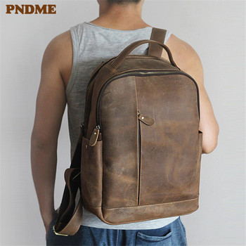 PNDME vintage crazy horse cowhide mens backpack casual simple high quality genuine leather large capacity travel laptop bagpack