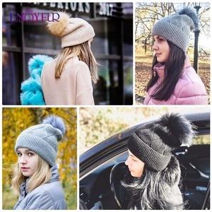 Image 4 - ENJOYFUR Winter Hats For Women Natural Fur Pompom hat Warm Wool Slouchy Beanies For Female Fashion Skullies Lady Hats