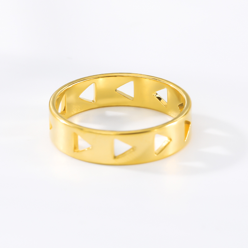Hollow Gold Couple Triangle shaped openwork ring Stainless Steel Geometric Finger Ring For Women Vintage Jewelry Bijoux Femme in Rings from Jewelry Accessories