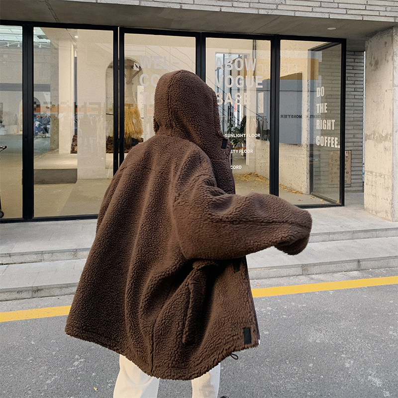 2019 Autumn And Winter New Lamb Fur Hooded Jacket Coat Fashion Casual Solid Color Cotton Coat Tide White / Brown M-XL