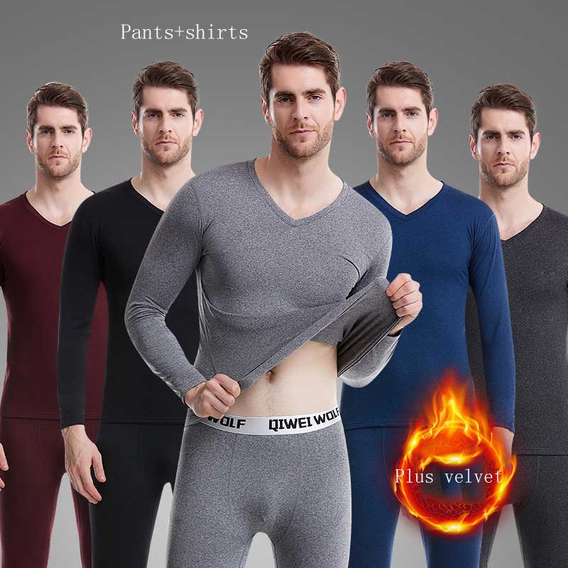Winter Thicken Men Thermal Underwear Sets Warm Russian Canada V-Neck Trousers Plush Warm Set Two-Piece Long Johns Ultra-Soft New