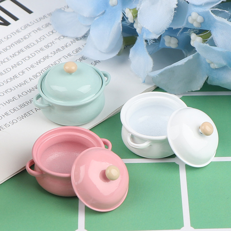 1Pcs 1/12 Dollhouse Miniature Accessories Mini Soup Pot With Food Simulation Kitchenware Model Toys For Doll House Decor