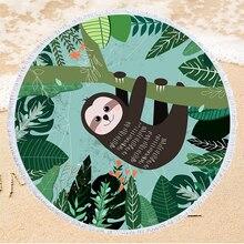 Cartoon Sloth Pattern Summer Beach Towel Popular Beach Sunbathing Yoga Mat Outdoor Travel Camping Picnic Pad
