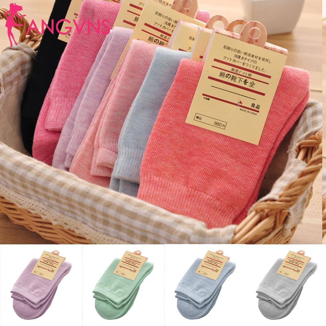 Women Fashion Warm Solid Winter Cotton Casual Socks Mid Length Sport Socks
