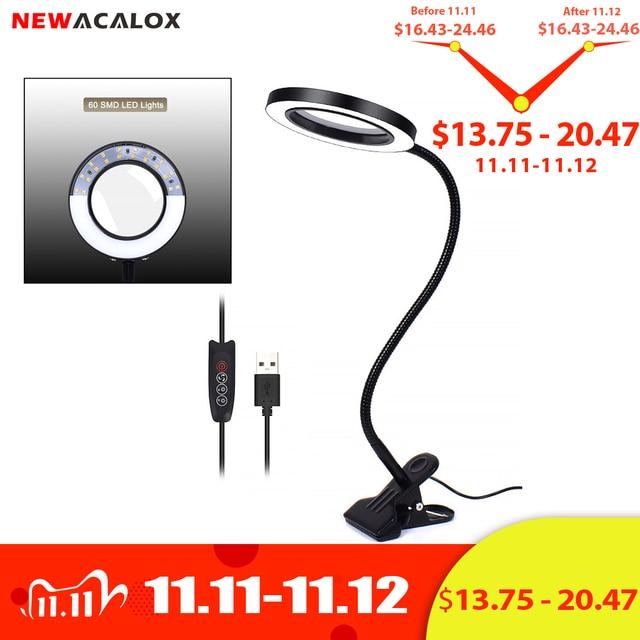 Гибкая лампа NEWACALOX 3X/5X USB, 3 цвета, увеличительное стекло с прищепкой, настольный светодиодный увеличительный объектив для чтения, увеличительное стекло с подсветкой