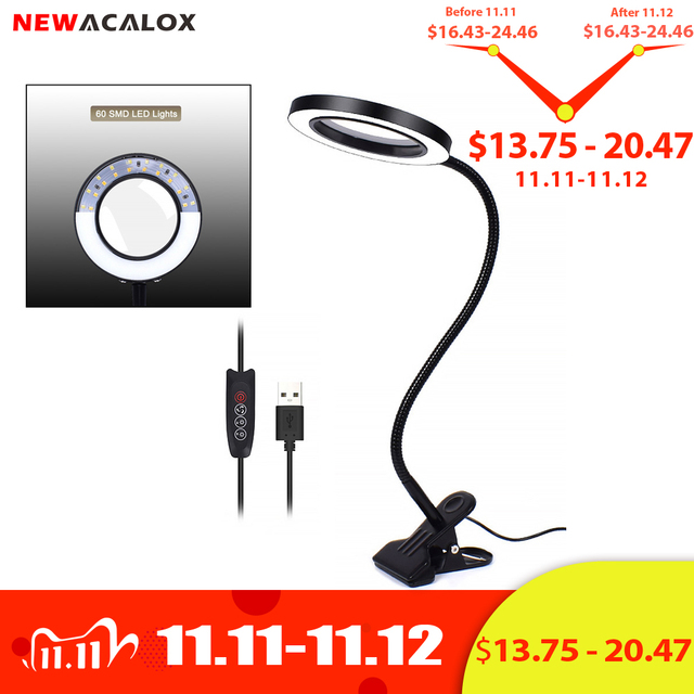 NEWACALOX Flexible 3X/5X USB 3 Colors Lamp Magnifier Clip on Table Top Desk LED Reading Large Lens Illuminated Magnifying Glass