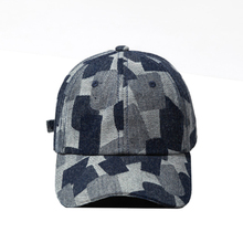 цена на 2019 High Quality Collision Color Washed Patchwork Retro Baseball Cap Men and Women Blue Hat