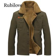 Rubilove 2019 Winter Bomber Jacket Men Air Force Pilot Warm Male fur collar Mens Army Tactical Fleece