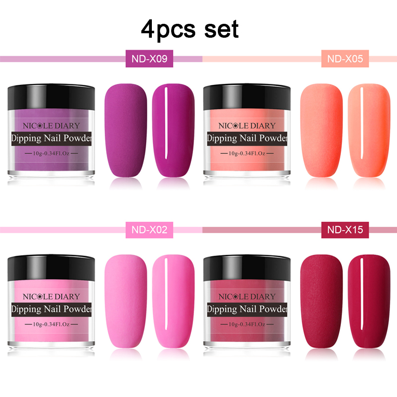 NICOLE DIARY Dipping Nail Powder Matte Luminous Nail Glitter Powder Set Dip Nail Powder Dust Nail Art Decoration Natural Dry