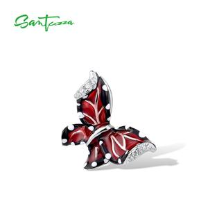 Image 2 - SANTUZZA Red Butterfly Jewelry Set For Woman White CZ Ring Earrings Pendant 925 Sterling Silver Fashion Jewelry HANDMADE Enamel