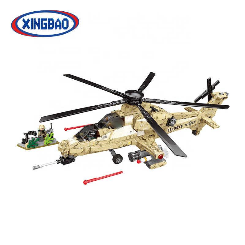 XINGBAO 06025 Военная армейская серия мировая война 2 Сцена WZ10 вертолет набор строительных блоков Кирпичи рождественские подарки Juguete