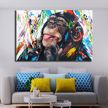 Graffiti Lovely Monkey Canvas Painting Colorful Printed Poster and Prints Painting Wall Pictures For Living Room Home Decoration graffiti art monkey canvas painting colorful printed poster and prints painting wall pictures for living room home decor artwork