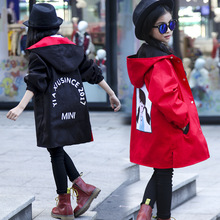 Spring Autumn Girls Outerwear Teenager Girls Fashion Trench Coat Children Cotton Casual Long Hooded Outerwear Outfits For 3-12Y cheap BibiCola Polyester Full cartoon Fits true to size take your normal size Thin (Summer) Worsted long sleeve Tidal range Child s coat Jacket coat