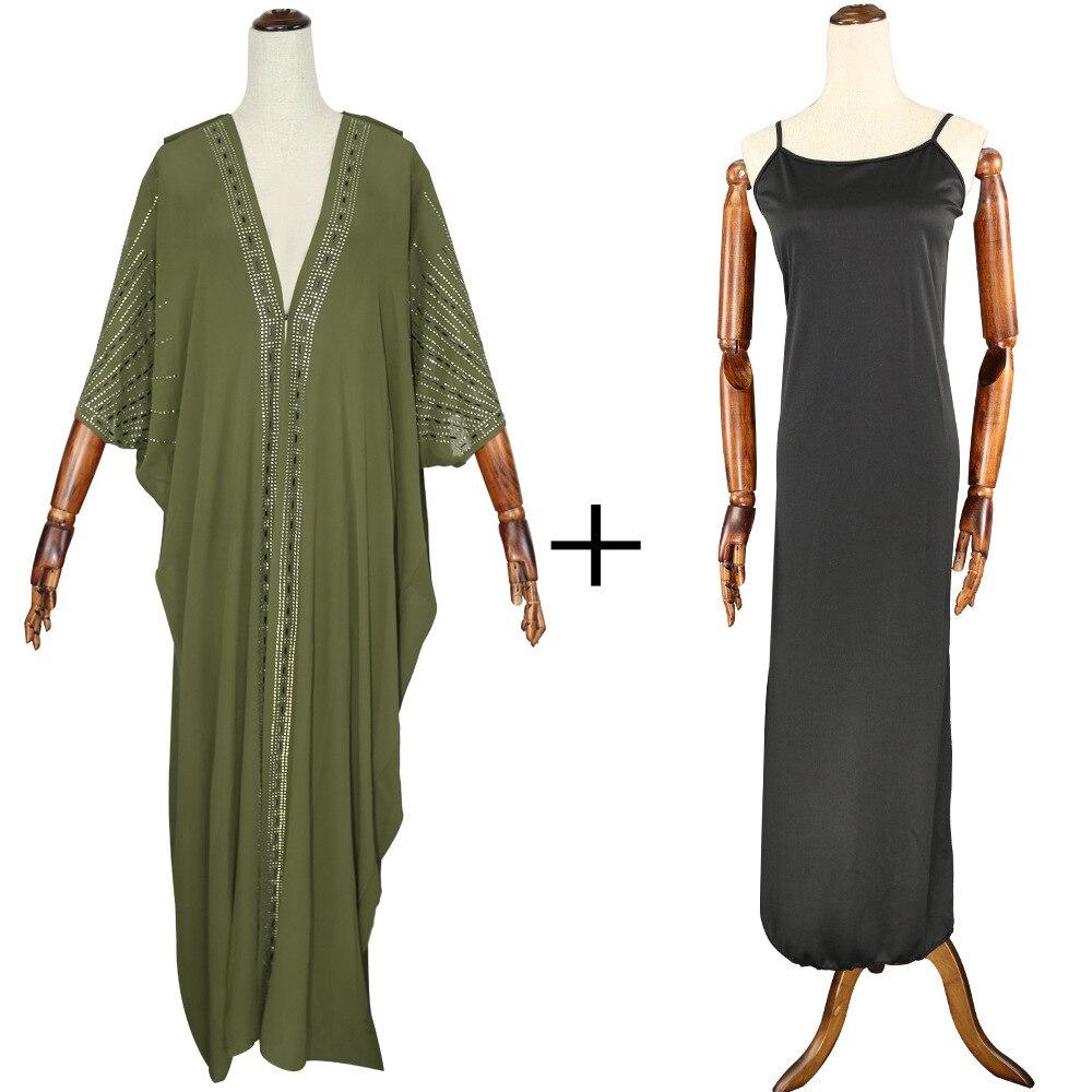 Длина 140 см, красная африканская одежда, африканские платья для женщин, мусульманское длинное платье, высокое качество, длина, модное Африканское платье для леди - Цвет: Army Green 2pcs set