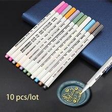 10 sztuk/partia wosk pieczęć znaczek pióro dekoracji wosk seal metal złoty kolor długopis metalowe wosk znaczek markery Vintage woskowanie kolor długopisy