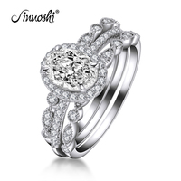 AINUOSHI 1.5 Carats Floral Band Halo Oval Created White Sapphire TRIO Ring Set Wedding Sterling Silver Ring Set Jewelry for Lady