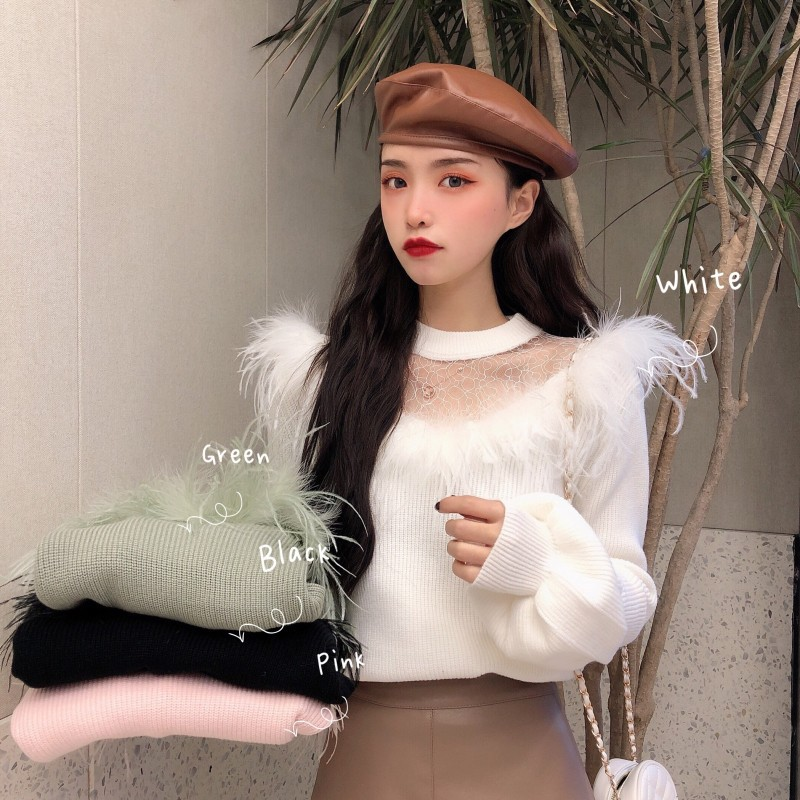 Sweater Women Autumn And Winter 2019 Design Feeling Feather Splicing Lace Lantern Sleeve Female Perspective Knitwear